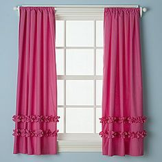 Kids' Curtains: Kids Hot Pink Ruffle Curtain Panels in Curtains. --- Curtains for A's room. Pink Kitchen Curtains, Girls Room Curtains, Girls Bedroom, Playroom Curtains, Childrens Curtains, Curtain Room, Pink Ruffle Curtains, Cute Curtains, Drapes Curtains
