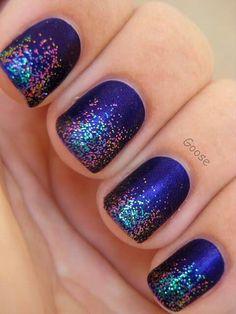 Purple sparkley nails