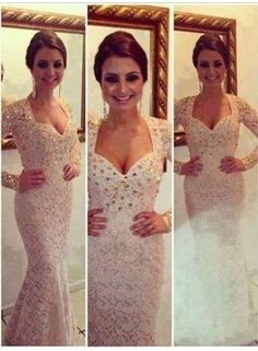 $199--2014 New Sexy Prom Dresses Sweetheart White Beading Crystals Lace Mermaid Floor Length Long Sleeves Evening Gowns 159