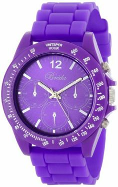 """Breda Women's 2293-D Purple """"Haley"""" Trendy Silicone Watch Breda. $29.40. Water-resistant - not recommended to take into deep water or shower. Highest Standard Quartz movement. Dark purple dial with three non-working chronograph sub dials; Contrasting hour, minute, and second hands. Dark purple silicone band with buckle. Dark purple bezel with tachymeter markings"""