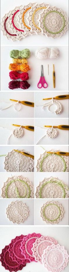 20 Amazing Free Crochet Patterns That Any Beginner Can Make--Ombre Crocheted Coasters with Free Pattern