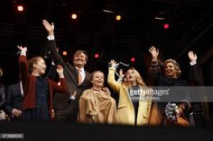 TOPSHOT King Willem Alexander Queen Maxima and their daughters Amalia Ariane and Alexia wave to the crowd as the king celebrates his 50th birthday in...