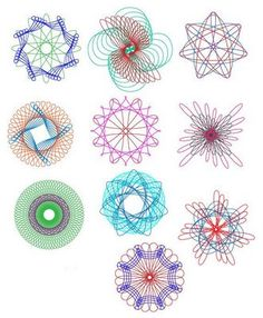 Spirograph. Most of my attempts at Spirograph as a kid were always filled with goof ups. Rarely looked like this. Ha.