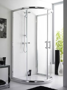 The Pacific D-Shaped enclosure is a chrome-finished shower enclosure with twin sliding doors for easy access. They don't require a corner to be installed, so are perfect for awkward rooms. The Pacific D-Shaped