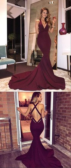 Prom Dresses 2018 Gorgeous V-neck Long Mermaid Prom Dress with Train, Burgundy Long Prom Dress, 2017 Prom Dress, Mermaid Prom Gowns, Sexy Back Criss Cross Prom Dress Prom Dresses 2018, Cheap Prom Dresses, Sexy Dresses, Nice Dresses, Prom Gowns, Corset Dresses, Wedding Gowns, Mermaid Gown Prom, Mermaid Evening Dresses