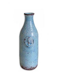 Ceramic blue bottle by www. Blue Bottle, Vase, Ceramics, Inspiration, Decoration, Home Decor, Colors, Summer, Ceramica