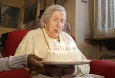 Emma Morano, 117 years old, blows out her birthday candles in Verbania, Italy, on Nov. 29. Emma is now the oldest person in the world and is believed to be the last surviving person in the world who was born in the 1800s.