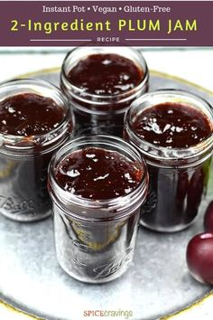 This Plum Jam recipe is like capturing the fresh flavors of summer in a jar! Whether you make it in your Instant Pot or stove, fresh plums and sugar is all you need to make this pot of deliciousness. No pectin required! Plum Recipes Healthy, Plum Jam Recipes, Jelly Recipes, Plum Jelly, Jam And Jelly, Plum Jam With Pectin, Plum Preserves, Plum Freezer Jam, Ginger Chutney
