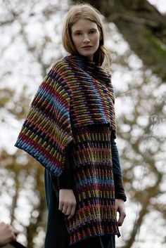 Knit a colorful scarf wrap: free knitting pattern :: Rowan Knitting and Crochet Magazine 54 Rowan Knitting, Rowan Yarn, Knitting Yarn, Vogue Knitting, Knitting Patterns Free, Knit Patterns, Free Knitting, Rainbow Outfit, Rainbow Clothes