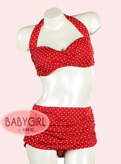 Retro Swimwear - 2 PC. High Waist Pinup Swimsuit Set with Skirted Bottoms with Shirred Sides in Red..... some day I'll be able to wear a bikini.