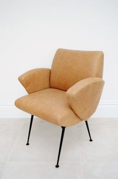 1950s Pierre Guariche easy chair in tan leather