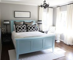 like the idea of painting the bed a color...and might even like the colors in this room... ;)