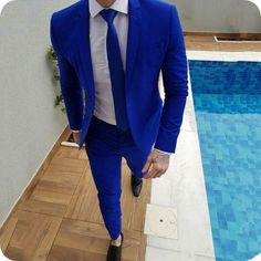 2019 New Arrival Royal Blue Prom Suits Groom Tuxedos Latest Coat Pants Designs Mens Wedding Suits Male Slim Fit Jacket+Pants+Tie Royal Blue Prom Suits, Royal Blue Mens Suit, Blue Suits, Blazer Outfits Men, Mens Fashion Blazer, Suit Fashion, Blue Blazer Outfit Men, Casual Outfits, White Wedding Suit