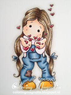 Coloring Magnolia Stamp 2013 With Love Collection - Tilda Blowing Hearts. Haar: E47-E44-E43-E41 Huid: E11-E00-E000-R20 Kleding: B99-B97-B95-B93-B91 -- E77-E74-E71 --R81-0 Klompjes en hartjes: Y28-Y26-YR24-Y38-Y35 -- R89-R85-R83 Achtergrond schaduw: W3-W1-W00