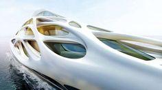 Das Außenskelett soll an organische Elemente der Unterwasserwelt erinnern (Quelle: Zaha Hadid Architects for Bloom+Voss Shipyards (Visualisation Moka-Studio))