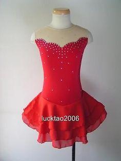 Gorgeous Figure Skating Dress Ice Skating Dress #5488, Like the pretty poufy skirt paired with a simple neckline