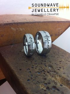 "We found our wedding bands! Check these out ~ soundwaves of ""I Love You"" engraved onto the rings. #perfect #gaywedding"