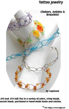 Tatoo Wire and Beads Necklace Jewelry Making Project made with WigJig jewelry tools and jewelry supplies.