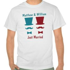 Mr and Mr Top Hat Mustache And Bow Tie Wedding Shirt .. just married gay wedding products from #Ricaso
