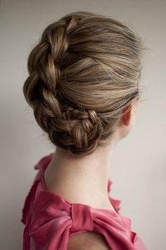Braided up style - tip about pulling the braid out to make it look thicker I will definitely try!