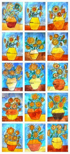 Do warm colors on the flowers and cold colors in background/ resist crayon and watercolor background.