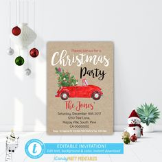 Christmas Dinner Invitation,  Christmas Party Invitations, Xmas Party, Red car with tree Invite,  Instant Download, EDITABLE, TEMPLETT by iCandyPartyPrintable on Etsy