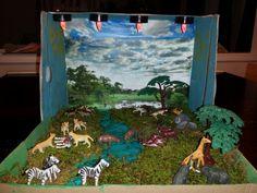 Lion habitat diorama.