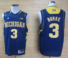 c1bc0105d7dd Wolverines  3 Trey Burke Navy Blue Basketball Stitched NCAA Jersey Michigan  Wolverines Basketball