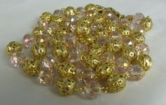 Vintage Two Strand Pink Crystal Necklace Pierced by TheFashionDen, $20.00