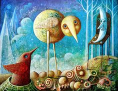 Polish artist Leszek Kostuj paints fanciful worlds populated by otherworldly creatures. There is something playful, childlike, and naive about his work, with its simplified forms and friendly-looki… Dynamic Painting, Strange Beasts, Art Friend, Pop Surrealism, Naive Art, Whimsical Art, Surreal Art, Dark Art, Amazing Art
