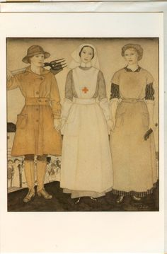 Edmund Dulac, The Sisters, 1917 - Land Army Girl, Nurse, and Munitionette.
