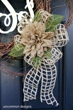 Wood Monogram Twig and Burlap Wreath