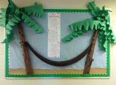 Summer Birthday Bulletin for Church Palm Trees, Hammock, Sand Paper Surfing Bulletin Boards, Dinosaur Bulletin Boards, 3d Bulletin Boards, Summer Bulletin Boards, Birthday Bulletin Boards, Birthday Board, Bullentin Boards, School Displays, Classroom Displays