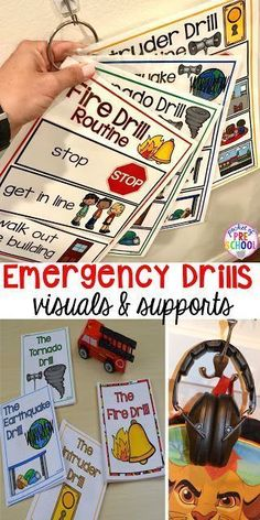 Fire, Earthquake, Tornado, & Intruder Drills - Visuals and supports to make emergency drills less stressful and scary for kids in your preschool, pre-k, and kindergarten classrooms. #firedrill #emergencydrills #preschool #prek #backtoschool