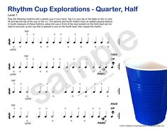 Rhythm Cup Explorations - for private or group lessons.  Two games on this page: 1) rhythm cup and 2) piano charades for dynamics vocab.