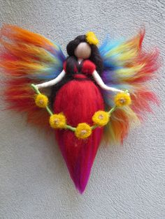 Aguja de hadas arco iris de fieltro y Warrington waldorf Nadelfilzen Fee Elfe Märchenwolle Wool Dolls, Felt Dolls, Rainbow Fairies, Felt Angel, Origami Rose, Needle Felting Tutorials, Felt Fairy, Needle Felted Animals, Waldorf Dolls
