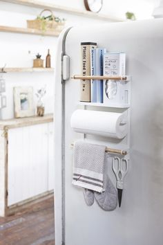 Sep 2019 - Tosca Magnetic Kitchen Organization Rack in White - Material: Steel/Wood - Product Size: L x W x H inch Please allow business days to ship out and receive tracking. Yamazaki brings t Kitchen Organizer Rack, Small Kitchen Organization, Diy Kitchen Storage, Diy Kitchen Cabinets, Kitchen Hacks, Organization Ideas, Small Apartment Organization, Storage Ideas, Organised Kitchen Diy