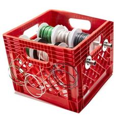 Reinvent idea using Dollar Store bins with dowel rods and store craft ribbon easily. Could color code bins to ribbon color for easy organization. Van Storage, Tool Storage, Garage Storage, Truck Storage, Plastic Milk Crates, Plastic Bins, Van Organization, Hvac Tools, Dollar Store Bins