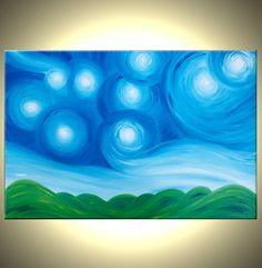 Original Acrylic Art, Blue Green Painting, Modern Abstract Landscape, Textured Starry Night, Impressionist Stars, by Lafferty - 36X24. $204.00, via Etsy.