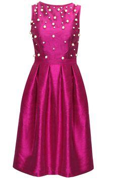 Magenta retro midi dress available only at Pernia's Pop-Up Shop.