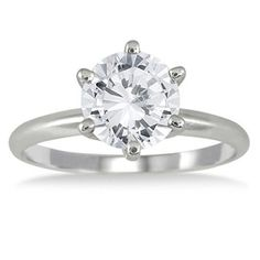 Rings, SZUL, AGS Certified 1 1/2 Carat Diamond Solitaire Ring in 14K White Gold