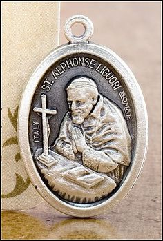 Alphonsus Liguori Patron of Those Suffering From Arthritis Pray for Us Medal Silver Oxidized Blessed by Pope Francis. Pray for us - Italy in back of the medal - size - about 3/4 of an inch. Blessed by Pope Francis. Silver Oxidized Saints Medals come on a convenient jump ring, ready for a stainless steel chain. -- Silvertone. Made in Italy, this medal will never rust. Beautiful keepsake for years to keep.