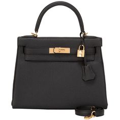 Pre-owned Hermes Black Togo Kelly 28cm Gold Hardware (63.660 BRL) ❤ liked on Polyvore featuring bags, handbags, handbags and purses, hermes kelly bags, top handle bags, hand bags, real leather handbags, top handle handbags, hermes handbags and kiss-lock handbags