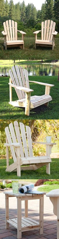 Chairs 79682: Shine Company Cedar Adirondack Chair Pair With Side Table   3  Pc.