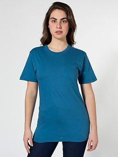 American Apparel Women's Organic Fine Jersey Short Sleeve T-Shirt Price: Apparel Product Organic Fine Jersey cotton constructionDurable rib neckbandUnisex size - women may prefer to order one size down. Plus Dresses, T Shirts For Women, Clothes For Women, Jersey Shorts, American Apparel, Fitness Models, Women Wear, Organic, How To Wear