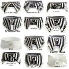 Tipes of necks on shirts... tipos de cuello en camisas. Definitivamente jamás usaría el 4