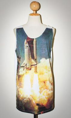 Apollo Rocket White Singlet Tank Top Sleeveless Women Art Punk Rock T-Shirt Size L