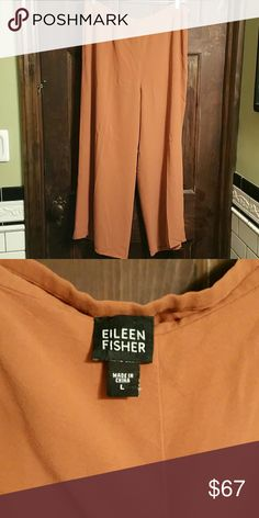 EILEEN FISHER SILK WIDE-LEG PANTS! EUC! Scrumptious Salmon Color,Side zip and Pockets. Eileen Fisher Pants Wide Leg