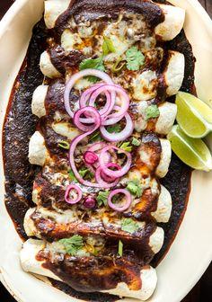 Vegetarian Heirloom Bean and Poblano Enchiladas with Guajillo Sauce  | healthy recipe ideas @xhealthyrecipex |