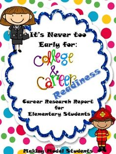 Its never too early to focus on college and career readiness! This Career Research Report helps elementary students develop basic research/report writing skills. Career College, Career Day, College Years, Counseling Activities, Career Counseling, Education College, Physical Education, Elementary School Counseling, School Counselor